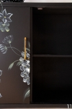Close-up image of the inside of the Hand-Painted Dark Florals Sideboard