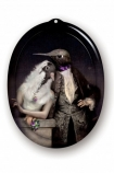 Cutout image of Ibride Animal Tray - Galerie De Portraits Oval Tray - The Lovebirds on white background