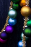 Close-up image of the Large Rainbow Baubles & Tinsel Garland