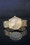 Leff Amsterdam Brass Tube Watch With Links By Piet Hein Eek on reflective surface with dark background lifestyle image