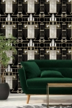 lifestyle image of Mind The Gap Metropolis Collection - Glamour Wallpaper with green sofa with wooden coffee table and plant in grey pot