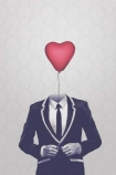cutout image of Unframed Mr Valentine Fine Art Print black and white suit with red heart balloon for head on white background