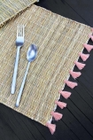 Natural Wicker Placemat With Pink Tassels