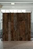lifestyle image of NLXL PHE-10 Scrapwood Wallpaper by Piet Hein Eek - Dark Brown Sleepers in a cube