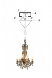Ornate Candle Chandelier cutout image on white background