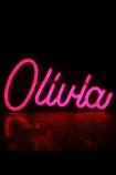 Olivia LED Neon Light in Pink switched on