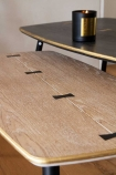 Close-up image of the Natural Art Deco Mid-Century Modern Coffee Table with the black in the background