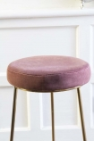 Close-up image of the seat on the Rose Pink Atlantis Velvet Bar Stool