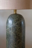 Close-up image of the middle of the Forest Green Marble Table Lamp With Natural Lamp Shade