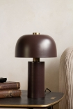 Lifestyle image of the Burgundy Red Retro Cylinder Table Lamp