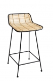 Image of the Black Framed Natural Rattan Bar Stool on a white background