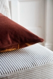 Image showing the plain back of the Cocoa Brown Floral Velvet Cushion