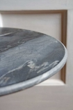 Close-up image of the top of the Vintage Marrakesh Brass & Marble Side Table