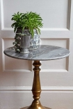 Close-up lifestyle image of the Vintage Marrakesh Brass & Marble Side Table