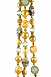 Image of strands of the Gold & Green Glass Garland together on a white background