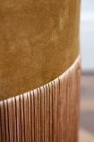 Close-up image of the velvet to fringe detail on the Gold Velvet Fringed Pouffe Foot Stool