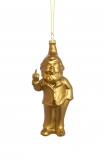 Image of the Gold Naughty Gnome Christmas Decoration on a white background