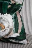 Image of the bottom right corner of the White Peony & Green Leaves Velvet Cushion