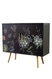 Angled image of the Hand-Painted Dark Florals Sideboard on a white background