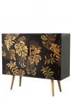 Angled image of the Hand-Painted Tropical Leaf Sideboard on a white background
