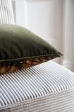 Image showing the plain back on the Khaki Green Dahlia Velvet Printed Cushion