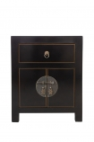 Front on image of the Oriental Gloss Black Bedside Table on a white background