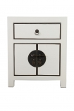 Front on image of the Oriental Gloss White Bedside Table on a white background