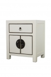 Angled image of the Oriental Gloss White Bedside Table on a white background