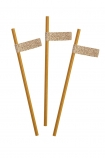 Image from above of the Pack Of 20 Mustard Gold Paper Straws With Gold Glitter Tags on a white background