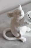 Close-up image of one of the White Mouse Candle Holders
