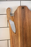 Image of the Magnetised Knife attached to the Tiger Serving Board