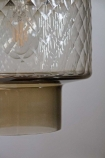 Image of the two-tone detail on the Two-Tone Smoked & Clear Textured Glass Pendant Light