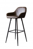 cutout image of Faux Leather Bar Stool With Zig Zag Stitching - Brown on white background