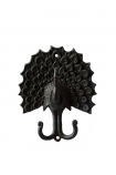 cutout image of Black Peacock Wall Hook on white background