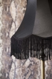 detail image of fringe on Bell Lamp Shade With Fringing - 3 Sizes Available with Rockett St George Sexy Snakeskin Wallpaper in background