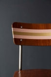 detail image of painting on Contemporary Hand-Painted School Chair - Tuscan Pink & Gold on dark wall background