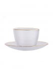 cutout image of Clear Glass Cup & Saucer on white background