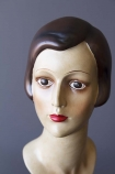 detail image of face on Deco Female Head/Bust Figurine with grey wall background