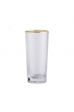 cutout image of Clear Glass Tumbler With Gold Rim on white background