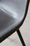 Faux Leather Dining Chair With Zig Zag Stitching - Charcoal Grey