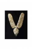 cutout image of Gold Feather Wings In Frame on white background