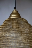 Close-up image of the top of the Antique Gold Metal Mesh Pendant Ceiling Light
