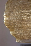 Close-up image of the base of the Antique Gold Metal Mesh Pendant Ceiling Light