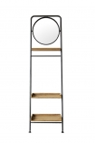 Industrial-Style Ladder Shelf Unit With Round Mirror on a white background cutout image from front