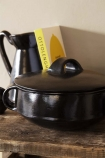 Black Brown Terracotta Casserole Dish - Large