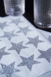Pack Of 24 Sparkling Glitter Star Stickers - Silver