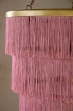 Close-up image of the Pink Three-Tier Fringe Chandelier