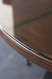 Round Leather Dining Table With Glass Top