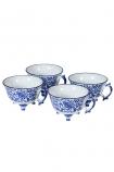 cutout Image of the Set Of 4 Pretty Indigo Blue & White Teacups on a white background