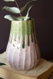 Close-up lifestyle image of the Botanical Bottle Neck Vase on book and plant inside with dark wall background